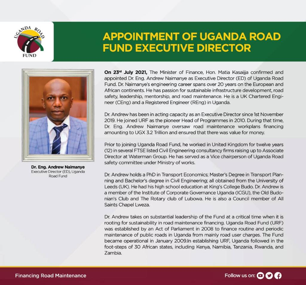 Appoitment of Uganda Road Fund